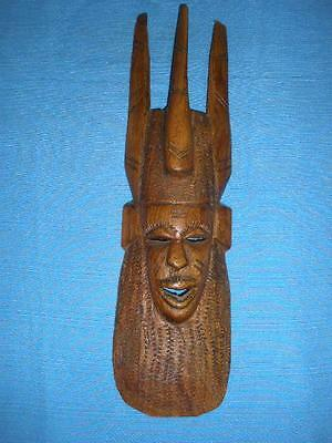 Fabulous Hand Carved Wooden Native Mask Wall Hanging From Irian Jaia No.5.