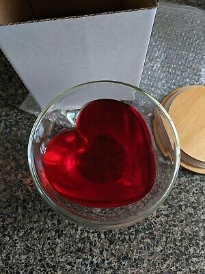 200ml Double Wall 'Glass Heart Cup with Bamboo Lid' Candle Wedding Valentine