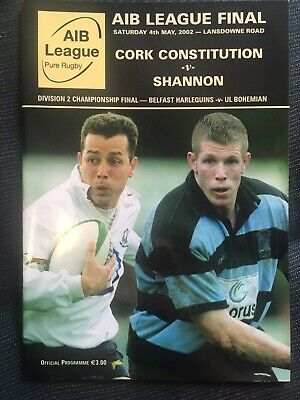 CORK CONSTITUTION v SHANNON RUGBY AIB LEAGIUE FINAL 2002 programme