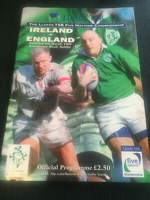 LAST FIVE NATIONS IRELAND v England 1999 RUGBY Test Programme