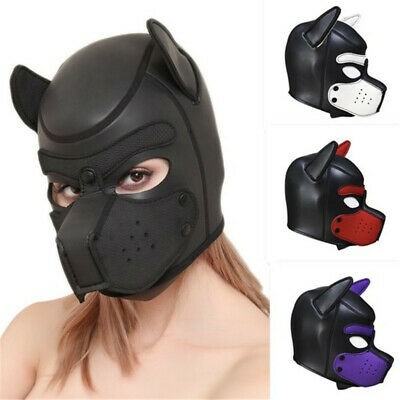 Bdsm Rubber Black Gum Fetish Dog Full Head Hood Puppy Doll Man Men Animal Mask