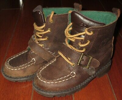 Polo Ralph Lauren Kids Boys Toddler Brown Leather High Ranger Boots Shoes Us 8