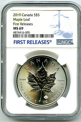 2019 $5 Canada 1 Oz Silver Maple Leaf Ngc Ms69 Rare First Releases Blue Label