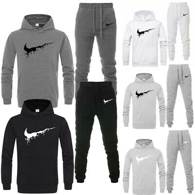 Mens Jogging Full Tracksuit Set Hoodie Bottoms Pants Sports Sweater Pullover Gym