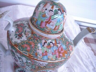Antik ancient China Teekanne Chinese Porcelain teapot dome domed lid h 24 cm