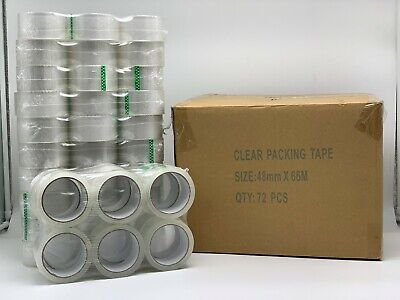72 ROLLS CLEAR PARCEL PACKING TAPE PACKAGING BOX SEALING 48MM x 66M