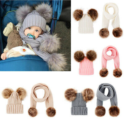 Kids Babys Boys Girls Double Pom Hat Faux Fur Scarves Set Winter Warm Beanie Cap