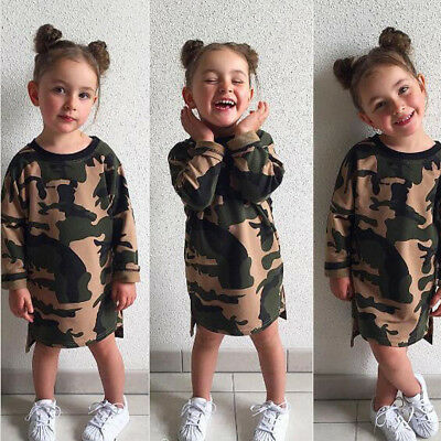 Toddler Kids Girls Camouflage Printed Dress  Cotton Blend Outfit Clothes Set g