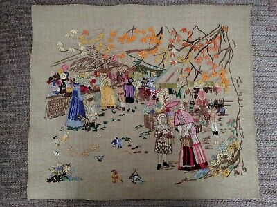 Vintage Hand Embroidery 'Market Scene' -  Unusual - Ideal Cushion - Fire Screen