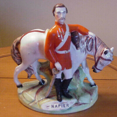 Staffordshire 19Th Century Lord Napier Standing With Horse - Exc. Cond.