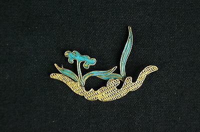 Antique Chinese blue Kingfisher feather hair stick pin ornament [Y9-W6-A9]