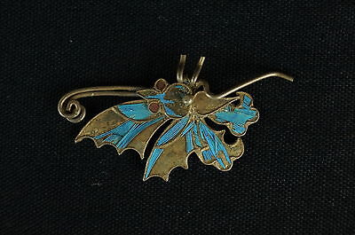 Antique Chinese blue Kingfisher feather hair stick pin ornament [Y8-W1-A9]