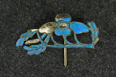 Rare  Antique Chinese blue Kingfisher feather hair stick pin ornament [Y9-W6-A9]