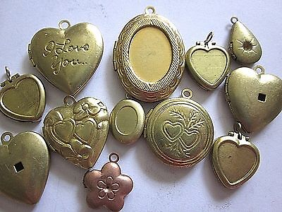 Assorted Vtg Lockets Lot Raw Brass Findings Jewelry Hearts Nos Pendants Charms