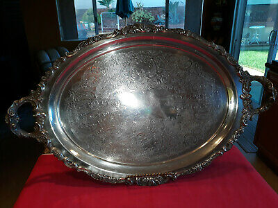 """Authentic Vintage Wallace """"Baroque"""" Large Serving Waiter Tray  """"Orig Sticker"""""""