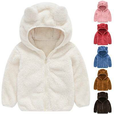 Kids Baby Girls Fur Coat Faux Fur Jacket Cute Warmer Winter Parka Lovely Hooded