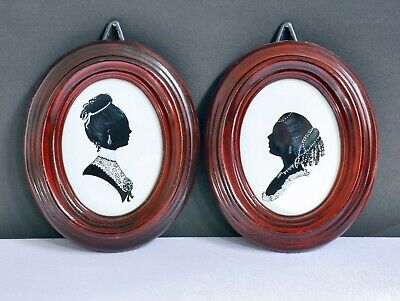 Vintage Handpainted Pair of Signed Silhouette Portraits - Framed & Glazed.