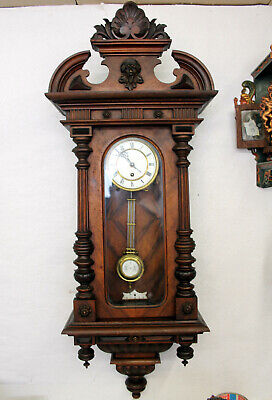 Antique Wall Clock Regulator Clock 19th century *in Wood hand carved R.S.M.