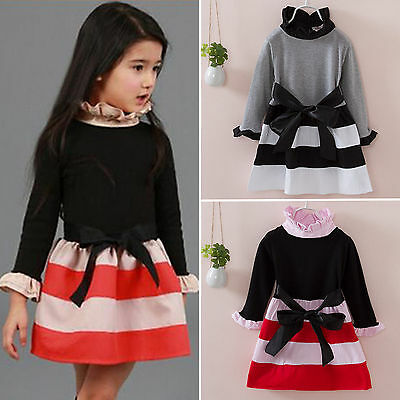 Toddler Kid Baby Girl Christmas Long Sleeve Bow Tutu Party Pageant Dress Clothes