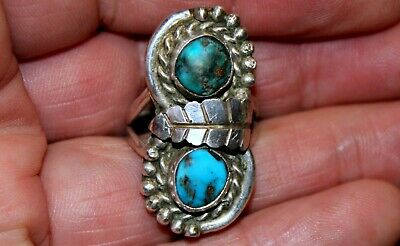 Old Navajo Handmade Sterling Silver & Turquoise Stone Rope Border Ring