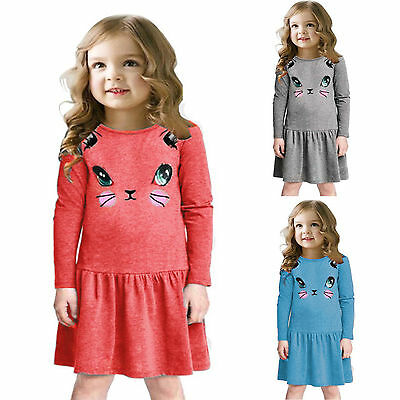 Cotton Kids Baby Girls Dress CAT Printed Dress Long Sleeve Party Casual Clothes