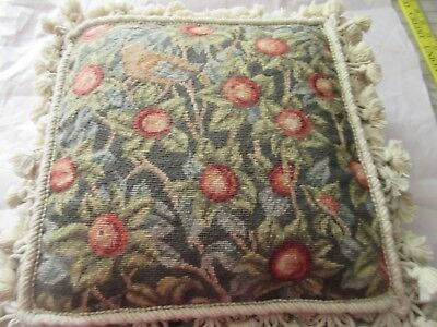 William Morris Design Bird in Fruit Tree Completed Needlepoint Tapestry Pillow