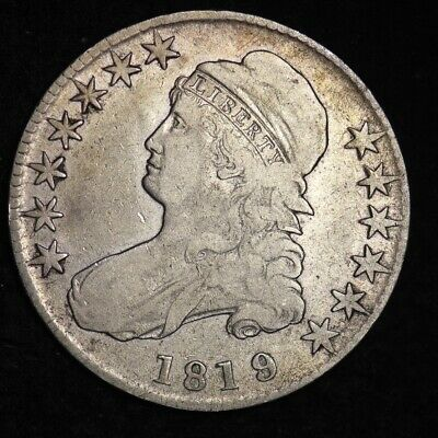 1819 9/8 Capped Bust Half Dollar CHOICE FINE+/VF FREE SHIPPING E327 ABT