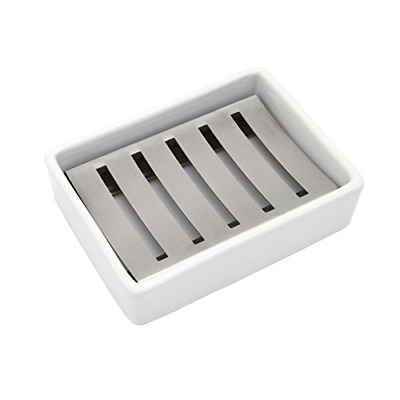 Ceramic Soap Dish Stainless Steel Soap Holder for Bathroom & Shower Double Layer