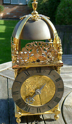 Gilded case Verge Lantern Clock by William Grey, London C20th reproduction