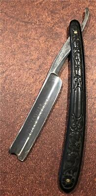 """Old Antique Waterville Cutlery Knife Co Straight Razor 5/8"""" Fancy Handle"""