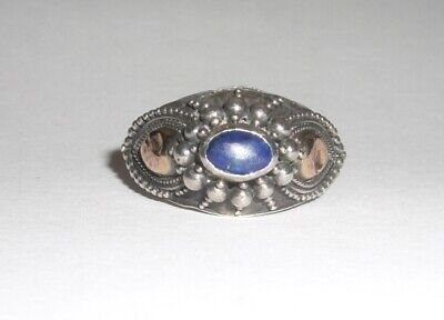 Sterling Silver Blue Lapis Ornate Ring Size 7.5