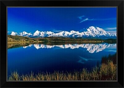 """Mt McKinley Relfected in Wonder Lake Denali NP AK"" Black Framed Art Print"
