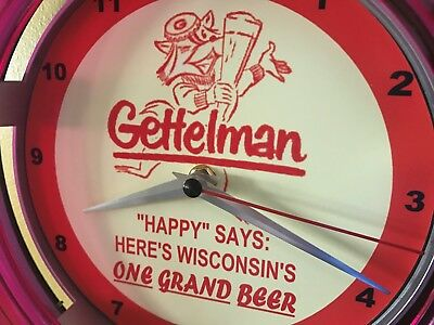 Gettelman's Wisconsin Badger Beer Bar Advertising Man Cave Neon Wall Clock Sign