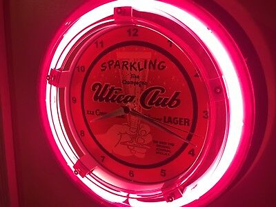 Utica Club New York Beer Bar Advertising Man Cave Neon Wall Clock Sign