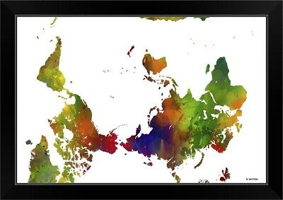 Upside Down Map Of The World Color I Black Framed Wall Art Print, Map Home Decor