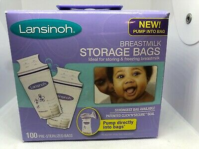 Lansinoh Breastmilk Breast Pump Storage Bags, 100 Count Pre-Sterilized Bags NEW