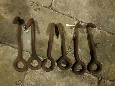 Antique Primitive Cast Iron Rigging Hooks Industrial Hooks lot of 6