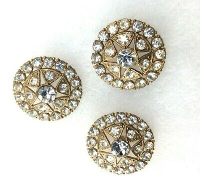 Vintage Clear Rhinestone Gold Tone Round Buttons Set of 3 with Star Pattern