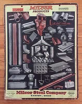 1931 Milcor Steel Products Canton Oh Art Deco Era Advg Poster Gd Some Paper Loss