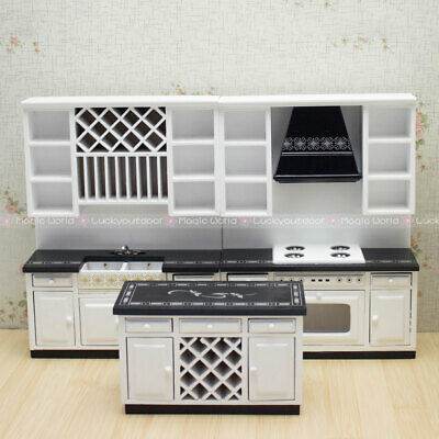 Kitchen Furniture Cabinets Cupboard Table Sink Stoves Dollhouse Miniatures 1/12