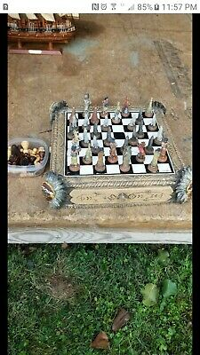Antique Indian chief chess set in good condition, very nice indian antique.