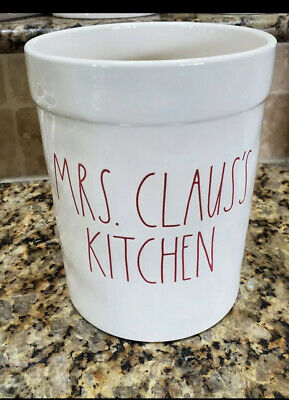 New Rae Dunn Utensil Holder/Crock Christmas MRS CLAUS'S KITCHEN Red Tall Letters