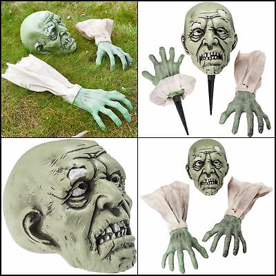 Halloween Decorations Zombie Face and 2 Arms Lawn Stakes Graveyard Outdoor Decor