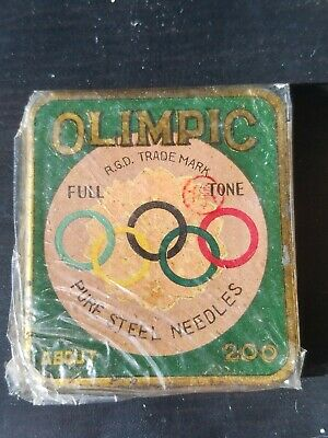Very rare full sealed gamophone phonograph needle tin Olympic rings Japanese