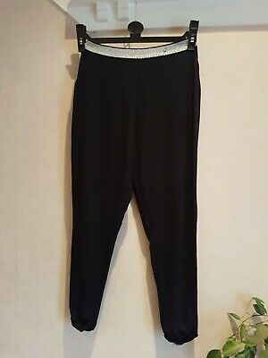 Girls Black/Silver Harem Style Loose Fit Leggings Trousers Age 8-9 Years