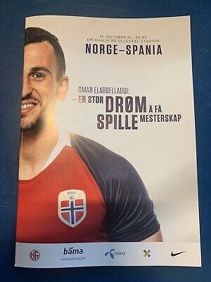 12.10.2019 Norway Norge v Spain Espana Euro2020 Qualifier w/ official teamsheet