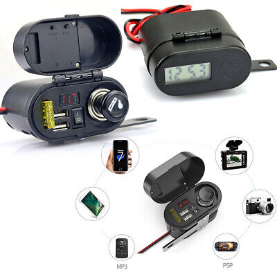 Waterproof Motorcycle Cigarette Lighter Dual Usb Charger With Voltmeter Clock