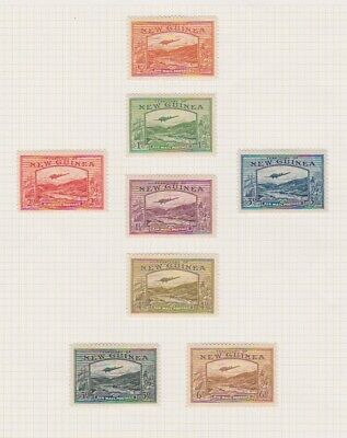 Postage Stamps New Guinea Air Mail Mounted Mint Rare Issues On Old Album Page