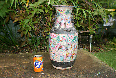 Large Antique 19th Chinese Porcelain Carved Painted Warrior Picture Heavy Vase