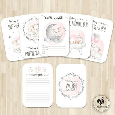 Baby Girl Milestone Cards, Elephants, Cloud, moon, Photo props, 40 cards, 250gsm